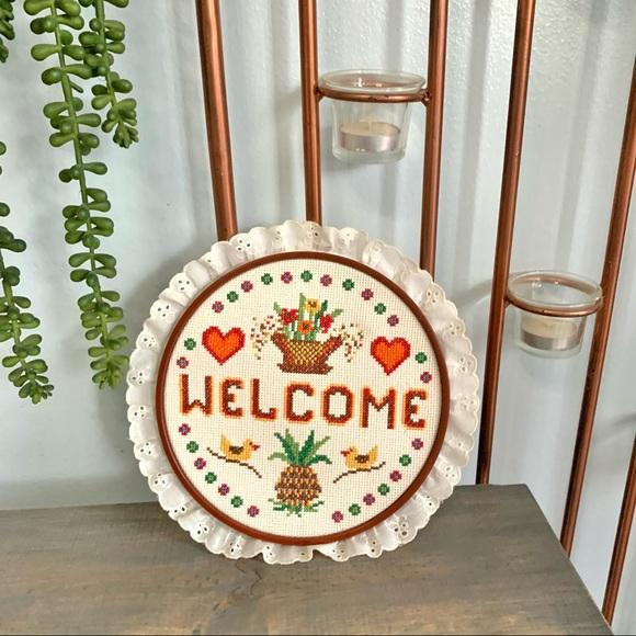 Vtg Handmade Welcome Embroidery Decor Birds